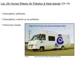 Lec. 29: Human Effects: Air Pollution & Heat Islands  (Ch 14)