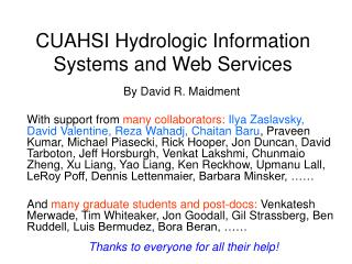CUAHSI Hydrologic Information Systems and Web Services