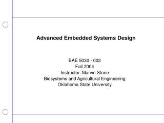 Advanced Embedded Systems Design