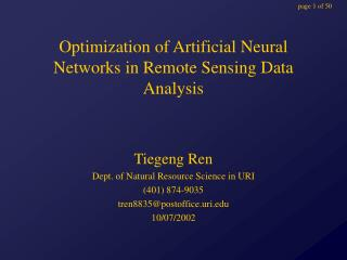 Optimization of Artificial Neural Networks in Remote Sensing Data Analysis