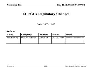 EU 5GHz Regulatory Changes