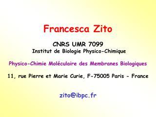 Francesca Zito CNRS UMR 7099  Institut de Biologie Physico-Chimique