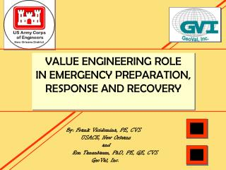 VALUE ENGINEERING ROLE IN EMERGENCY PREPARATION,  RESPONSE AND RECOVERY