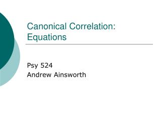 Canonical Correlation: Equations