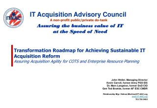 Transformation Roadmap for Achieving Sustainable IT Acquisition Reform