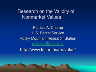 Research on the Validity of Nonmarket Values