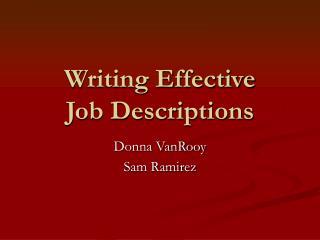 Writing Effective Job Descriptions