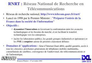 RNRT :  Réseau National de Recherche en Télécommunications