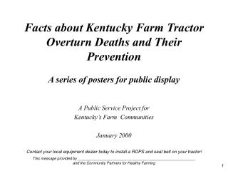 A Public Service Project for  Kentucky's Farm  Communities January 2000
