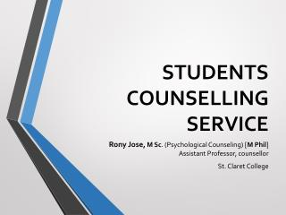 STUDENTS COUNSELLING SERVICE