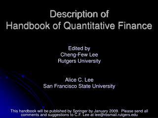 Description of  Handbook of Quantitative Finance