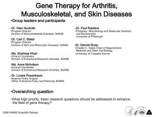 Gene Therapy for Arthritis, Musculoskeletal, and Skin Diseases