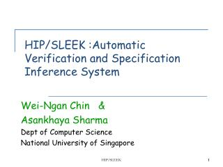 HIP/SLEEK :Automatic Verification and Specification Inference System