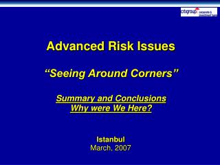 Citi CIB Advanced Risk Issues