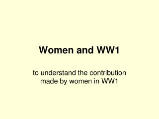 Women and WW1