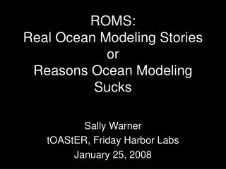 ROMS:  Real Ocean Modeling Stories or Reasons Ocean Modeling Sucks