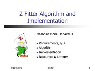 Z Fitter Algorithm and Implementation