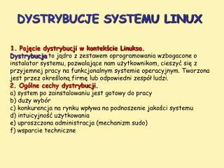 DYSTRYBUCJE SYSTEMU LINUX