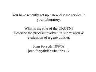 What is the UK  Genetic Testing Network (UKGTN)