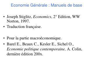 Economie G�n�rale : Manuels de base
