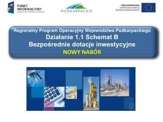 Regionalny Program Operacyjny Województwa Podkarpackiego Działanie 1.1 Schemat B