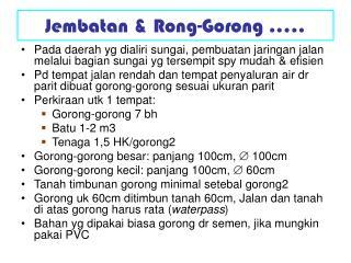 Jembatan & Rong-Gorong .....