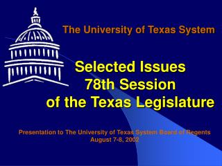 Selected Issues 78th Session of the Texas Legislature