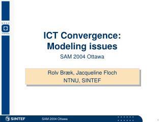 ICT Convergence: Modeling issues SAM 2004 Ottawa