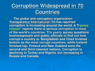 Corruption Widespread in 70 Countries