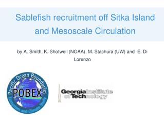 Sablefish recruitment off Sitka Island and Mesoscale Circulation