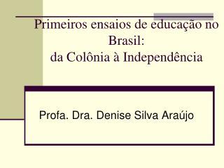 Primeiros ensaios de educação no Brasil:  da Colônia à Independência