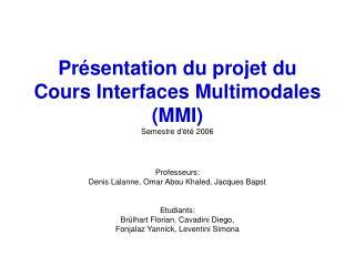 Présentation du projet du Cours Interfaces Multimodales (MMI) Semestre d'été 2006