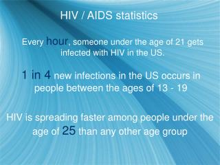 Every  hour , someone under the age of 21 gets infected with HIV in the US.