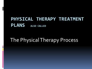 Physical Therapy Treatment Plans   also called