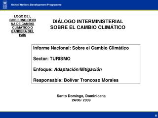 DI�LOGO INTERMINISTERIAL SOBRE EL CAMBIO CLIM�TICO
