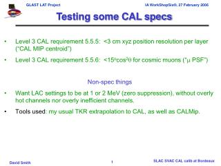 Testing some CAL specs