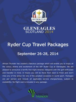 Ryder Cup Travel Packages September 26-28, 2014