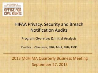 2013  MdHIMA  Quarterly Business Meeting September 27, 2013