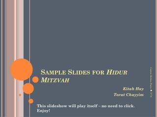 Sample Slides for  Hidur  Mitzvah