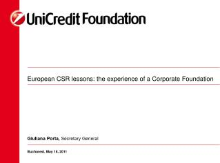European CSR lessons: the experience of a Corporate Foundation
