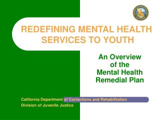 An Overview  of the  Mental Health Remedial Plan