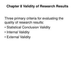 Chapter 8 Validity of Research Results