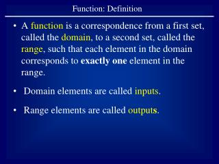 Function: Definition