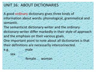 UNIT 16:  ABOUT DICTIONARIES