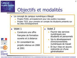 Objectifs et modalités
