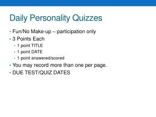 Daily Personality Quizzes