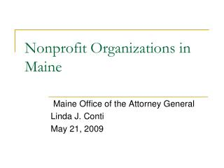 Nonprofit Organizations in Maine