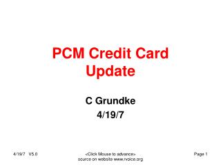 PCM Credit Card Update