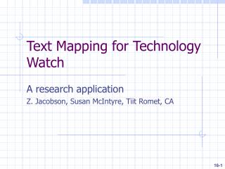 Text Mapping for Technology Watch