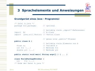 Grundgerüst eines Java - Programms : /* Datei A.java */ package ein.package;	// optional